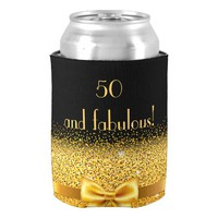50 and fabulous Chic gold bow with sparkle black Can Cooler