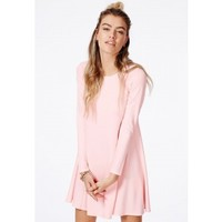 Missguided - Ozza Peach Crepe Swing Dress