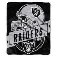 "Oakland Raiders 50""x60"" Royal Plush Raschel Throw Blanket - Grandstand Design"