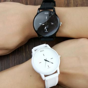 Classic Black and White Silicone Watches