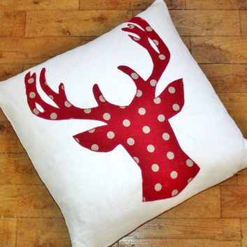 Large French Applique Stag Deer Reindeer Linen Red Christmas Pillow Cushion Pillow Coussin