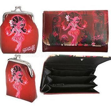 Licensed cool NEW Fluff HULA Girl EXOTICA Accordion Flap Wallet & Kiss lock Coin Purse Barjoud