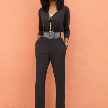 Quarter Sleeves V-Neck Jumpsuit with Belt