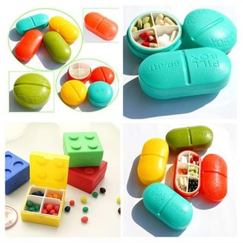 Round square home daily life grid matte portable pill box mini cute pill box