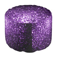 Beautiful Purple glitter sparkles Round Pouf