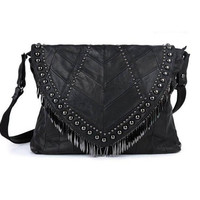 Fringe Rivet Crossbody Bag