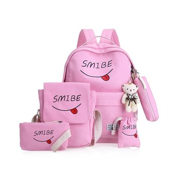 KVKY Summer Women Canvas 5Set Backpack  Printing Students Bookbag 5 Pcs School Bag Set For Youth Girls With Purse Bear Mochila