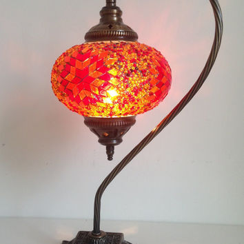 Orange Swan Neck  Mosaic Lamp With Vintage Look Square Base, Bedside night lamp, Turkish night lamp, Night Decoration, Midcentury light.