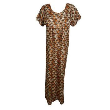 Mogul Womens Maxi Caftan Dress Printed Cap Sleeves Summer Comfy Sleepwear Night Dress Holiday Nightgown L - Walmart.com