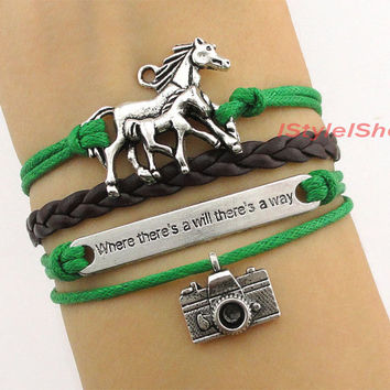 Horse Bracelet,Camera bracelet,where there's a will there's a way Charm Bracelet,Christmas Gift, Friendship Gift, Bridesmaid Gift