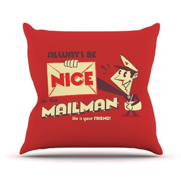"Roberlan ""Be Nice To The Mailman"" Red Tan Throw Pillow"