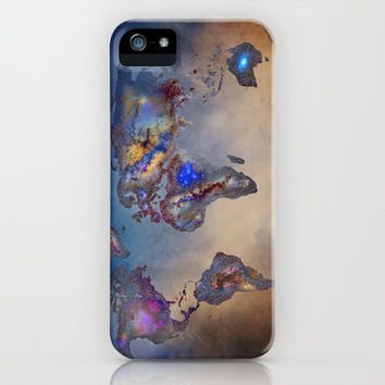 Stars world map. Blue iPhone & iPod Case by Guido Montañés