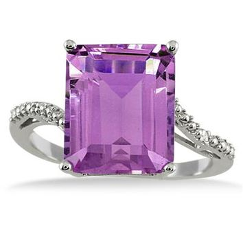 5.50 Carat Emerald Cut Amethyst and Diamond Ring in .925 Sterling Silv