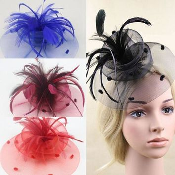 LMF78W New Wedding Party Cocktail Veil Mini Hat Cap Feather Veil Hair Clip Fascinato