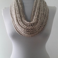 beige,Knitted infinity scarf, hand knitted, knitted,, Free Shipping, Beige,Knitted infinity scarf,   hand knitted, chunky snood, Big sale