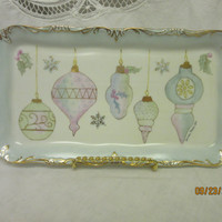 Porcelain Tray Scrolled Rectangular, Pastel Christmas Holidays Ornaments, trimmed in gold. by B. Marsh