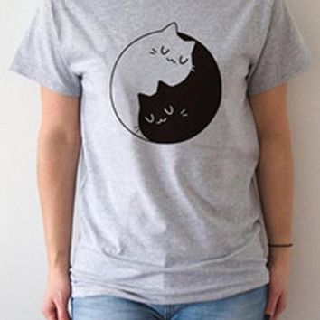 Grey Yin Yang Cat Print Round Neck Short Sleeve Casual T-Shirt