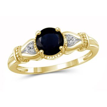 JewelersClub 1.20 Carat T.G.W. Sapphire Gemstone and White Diamond Accent Gold over Sterling Silver Ring - Walmart.com