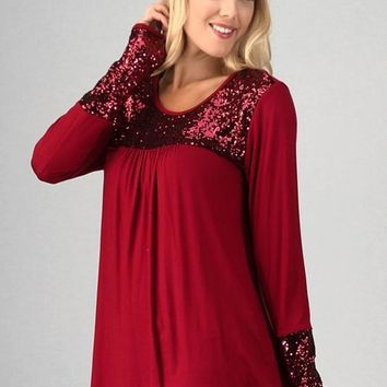 Baby Doll Sequined Top - Red