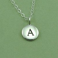 Petite Initial Personalized Necklace - sterling silver hand stamped letter charm pendant