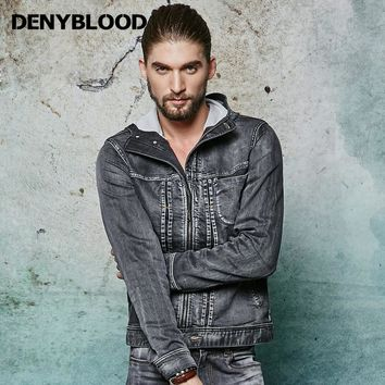 Denyblood Jeans 2017 Spring Knitted Denim Jacket Men Hoodies Vintage Washed Jeans Jacket with Cap Mens Clothing 105102