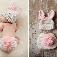 Lovely  Rabbit Bunny baby Animal Unisex Costume handmade Knit crochet photography props hats Cap Newborn sets = 1958320708