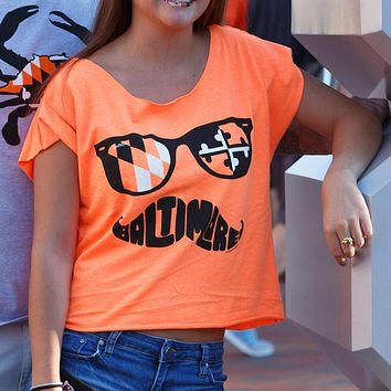 Black & Orange Maryland Mustache (Orange) / Crop Shirt