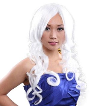 60cm Long Curly Front Lace Cosplay Party one piece Hair cap Wig White