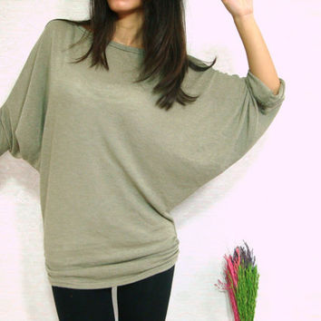 Sexy Light Sage Green Gray Women Blouse - Oversized Tee / Batwing Shirt / Ladies Poncho T shirt - Casual Women Comfy Tee / large medium