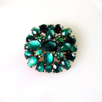 Early Century Prong Set Green Stone Brooch With Seed AB Rhinestones Dimensional Pot Metal Floral Design Vintage Collectible Gift Item 2368