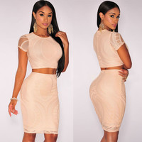 Apricot Optical Lace Crop Top and Bodycon Skirt