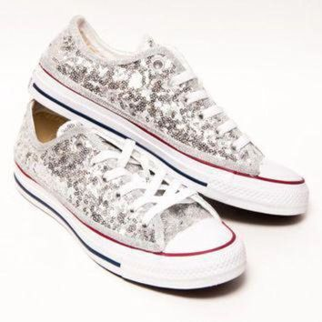ICIKGQ8 tiny sequin silver canvas converse all star low top sneakers shoes