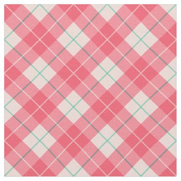 Cherry Blossom Pink Plaid Pattern Fabric