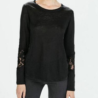 Black Lace And Mesh Cutout Long-Sleeve Shirt