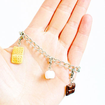 Food Jewelry - S'Mores Charm Bracelet
