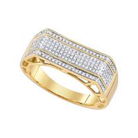 Diamond Micro Pave Mens Ring in 10k Gold 0.41 ctw