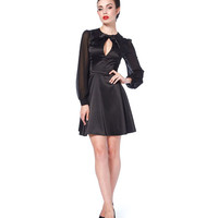 Voodoo Vixen Black Satin 1940's Influence Flare Dress