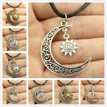 Moon Necklaces Crescent Moon Sun Star Pendant Leather Chain
