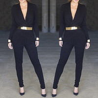 Sexy One Piece Outfits Plunge V Neck Long Sleeve Bodysuit Rompers Womens Jumpsuit Black Overalls Playsuit Combinaison Femme Mono