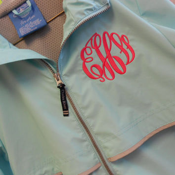 Monogram Rain Jacket Aqua  Font Shown MASTER by MONOGRAMSINC