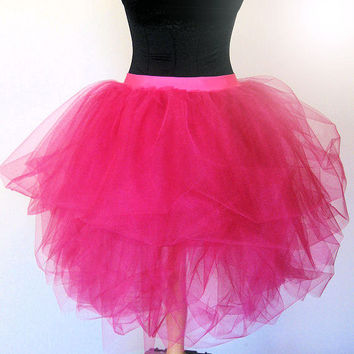 Luxurious Hot Pink Adult Tulle Tutu SKIRT 80's Prom Valentines Day Dance Bridesmaid Party Outfit- Classic Longer Length- Adult-Teen