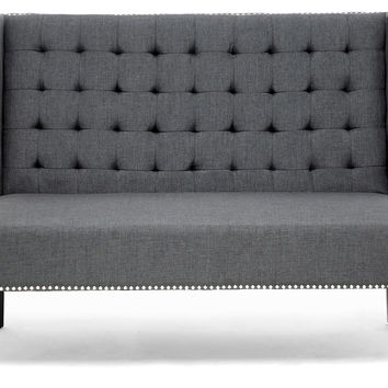 Owstynn Banquette Bench, Charcoal, Entryway Bench