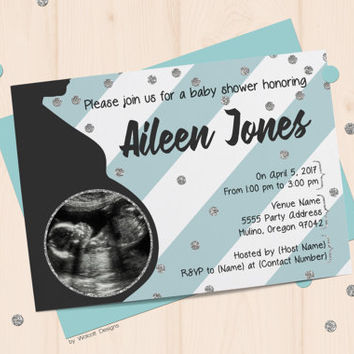 Baby shower invitation, blue baby shower Invite, boy baby shower invitation, baby shower invitation, blue stripes, sonogram photo