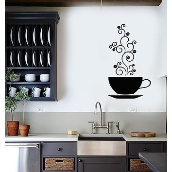 Vinyl Wall Decal Cup Of Coffee House Decor Bean Stickers (3713ig)