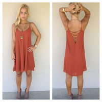 Rust Criss Cross Back Tank Dress