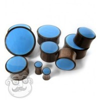 Sono Wood Plugs With Blue Resin Inlay (6 Gauge - 1 Inch) | UrbanBodyJewelry.com