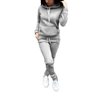 Two-Piece Women's Long-Sleeve Hoodie and Sweatpants Set