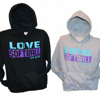 Love Softball - Neon Purple and Turquoise Hoodie