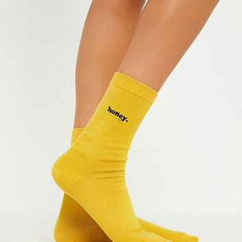 Honey Embroidered Crew Socks | Urban Outfitters