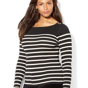 Lauren Ralph Lauren Plus Metallic Stripe Boatneck Top